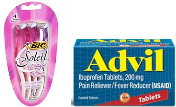 BIC Soleil Razor Advil FREE BIC Soleil Razor, Advil, Advil PM, Caltrate and Poise Samples