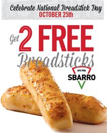 Sbarro Breadsticks 2 FREE Breadsticks at Sbarro on 10/25