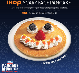 Scary Face Halloween Pancake FREE Scary Face Halloween Pancake For Kids at IHOP on 10/31
