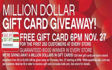 Belk Gift Card FREE Gift Card at Belk Stores on 11/27