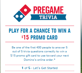 FREE $15 Domino's Gift Card on Sundays at 10AM EST - Hunt4Freebies