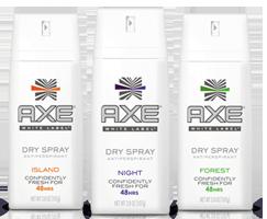 axe white label FREE Full Sized Sample of Dove, Degree or Axe Dry Spray Antiperspirant