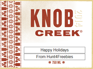 knob creek xmas FREE Knob Creek Liquor Bottle Gift Personalized Labels