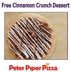 photo regarding Peter Piper Pizza Printable Coupons referred to as No cost Cinnamon Crunch Dessert at Peter Piper Pizza