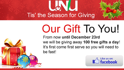 UNU FREE Gifts From UNU Each Day Until 12/23
