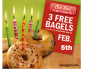 3 FREE Bagels at Brueggers