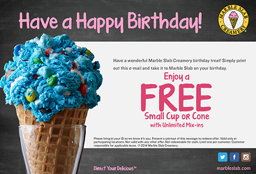 Marble Slab Creamery for your Birthday