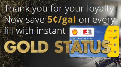 join the free shell fuel rewards network program its a free loyalty program that helps you spend less on gas you will receive instant gold status for - Shell Gas Rewards Card