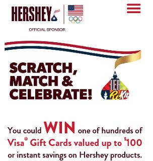 Hersheys Scratch Match Celebrate Instant Win Game