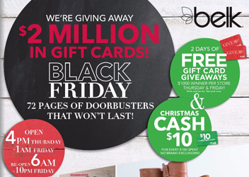 FREE Gift Card at Belk on Thanksgiving & Black Friday - Hunt4Freebies