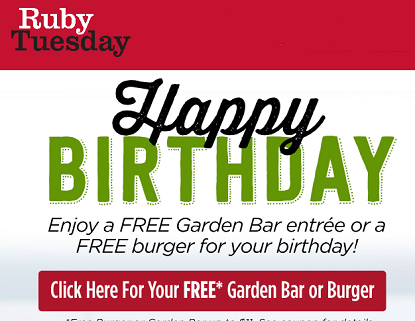 graphic about Ruby Tuesdays Coupons Printable named Absolutely free Burger or Yard Bar at Ruby Tuesday for Your Birthday
