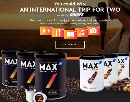Maxwell House MAX your Passion Sweepstakes and Instant Win Game