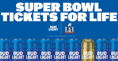 Bud Light Super Bowl Tickets for Life and Gear Sweepstakes
