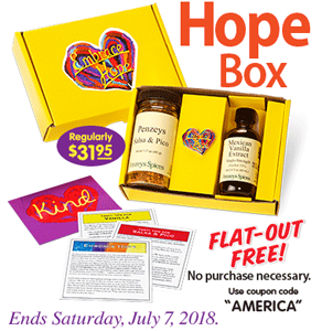Free hope gift box reg 3195 at penzeys hunt4freebies get a free hope gift box reg 3195 at penzeys fill out the form to get your in store coupon or print here offer ends midnight saturday july 7 2018 fandeluxe Gallery