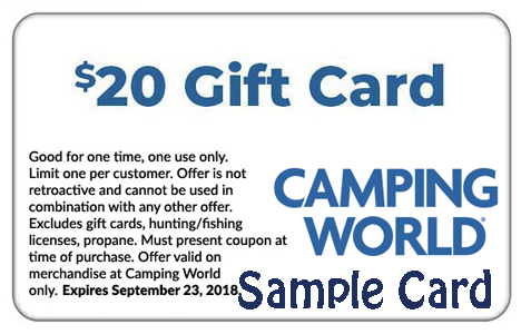 Free stuff freebies free samples hunt4freebies free 20 camping world gift cardcoupon for in store purchases only fandeluxe Gallery