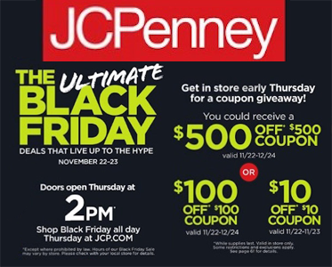 image relating to Mcalister's Coupons Printable titled JCPenney Black Friday Coupon Giveaway $500, $100 or $10 off