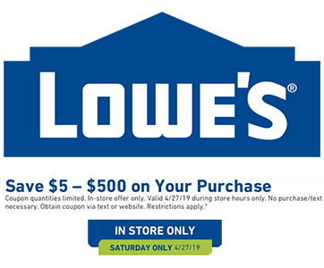 FREE $5-$500 Lowe's Coupon (Text Offer) Valid Today (4/27