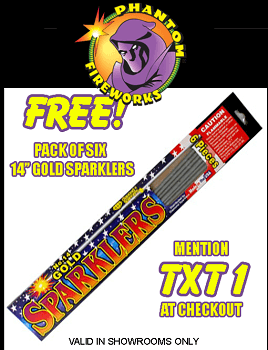 photograph regarding Phantom Fireworks Coupons Printable known as 6 Free of charge Gold Sparklers at Phantom Fireworks Shops