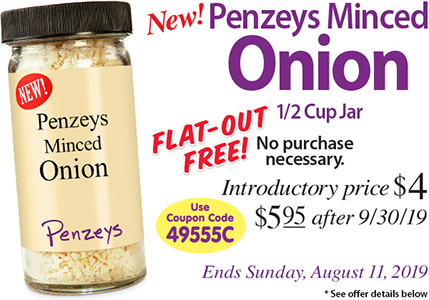 FREE 1/2 Cup Jar of Minced Onion Seasoning at Penzeys Spices